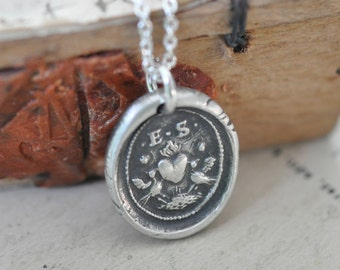 two lovebirds and a heart wax seal necklace pendant ... love - romantic antique wax seal jewelry