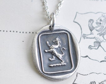 lion rampant wax seal necklace ... be courageous - fine silver antique wax seal jewelry