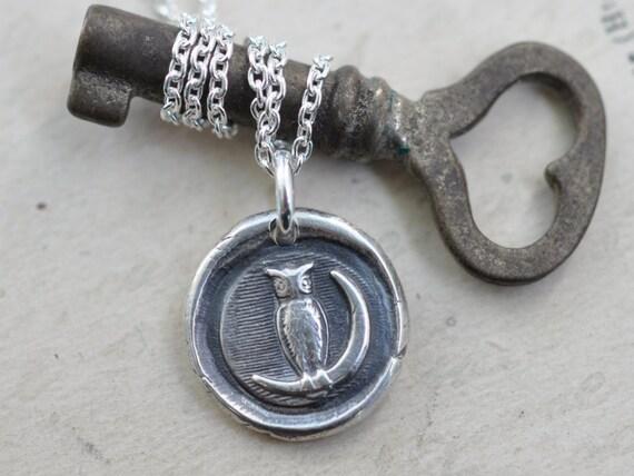 owl wax seal necklace - owl moon pendant … wisdom and vigilance