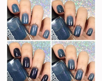 Black Betty//Thermal Changing Handmade Nail Polish// Black to Blue// Cruelty Free