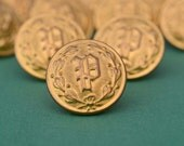 Brass Police Department Buttons by Waterbury Button Company  - Collection of 11 - P Monogram
