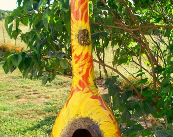 Sunflower Fire:  Handpainted Gourd Birdhouse