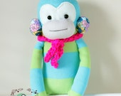 One sock MONKEY 14 inches - lime green/aqua blue with hot pink scarf