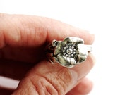 Swedish Demitasse Spoon Ring, Silver Plate Flower Pattern Sweden Size 8, Recycled Vintage, Eco Friendly, Jewelry by Hendywood