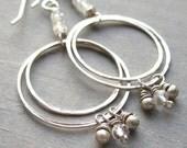 Silver Circle Hoop Earrings, Double Circle Earrings, Silver Bead Dangle Earrings, Dainty Bohemian Jewelry, Crystal Dangle Earrings
