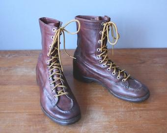 vintage 60s boots 8 men 10 women / paul bunyan sportsman boots / moc toe hunting boots / bone dry shoe co
