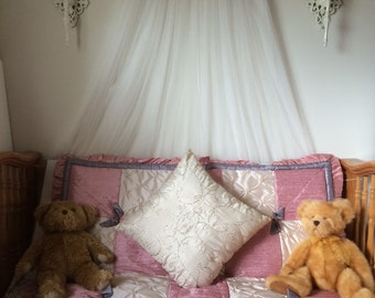 Nursery Crib Canopy Dusty Rose Pink Ivory tulle net Gray silver Bow FrEe WHITE sheer curtain So Zoey Boutique BELLA Peanutshell SALE