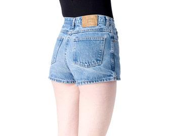 sale JEAN shorts HIGH waist denim blue hemmed vintage faded waisted jeans Medium / Size 10 / better stay together
