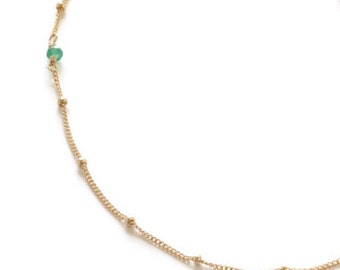 Green Gemstone, Gold Fill Chain, Stacked Long Over the Head Necklace
