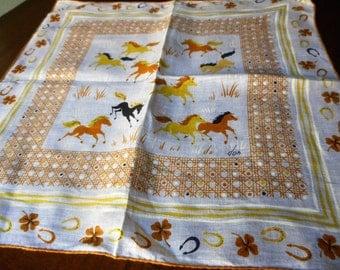 VINTAGE Designer Signed Running Horses Linen Handkerchief