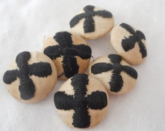 Set of 6 VINTAGE Black Embroidered Cross on Fabric BUTTONS