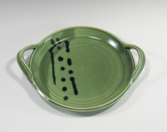 Brie Baker - Cheese Plate - Serving Dish - Green Black Serving Platter with handles - Home Decor - handmade pottery