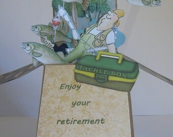Retirement pop up card - Card in a Box - Dimensional card