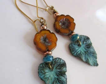 Patina Leaf Earrings, Pink Flower, Verdigris Patina, Garden Jewelry, Botanical Earrings, Bohemian, Vintage style, Gardendiva