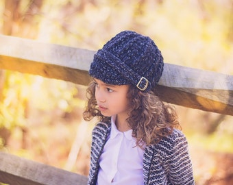 5 Sizes Charcoal Sparkle Hat Baby Hat Toddler Hat Baby Girl Hat Toddler Girl Hat Womens Hat Buckle Beanie Crochet Winter Hat Knit Beanie