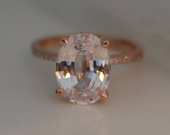 part 2 -Blake Lively ring Peach Sapphire Engagement Ring oval cut 18k rose gold diamond ring 5.37ct White sapphire