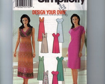 Misses Sewing Pattern Simplicity 7156 Misses Design Your Own Dress with High Waist or Surplice Top Size 6 8 10 12 UNCUT Multisize