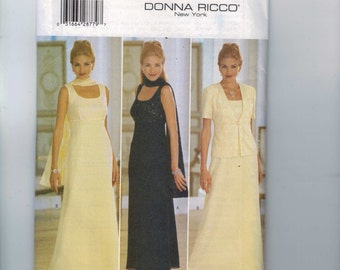 Misses Sewing Pattern Butterick 5878 Easy Misses and Petite Evening Dress Jacket Scarf Mother of the Bride  Size 8 10 12 UNCUT