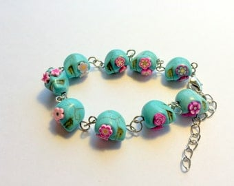 Turquoise and Pink Day of the Dead Sugar Skull Adjustable Chain Bracelet
