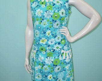 "Vintage 60s The Lilly Dress . Lilly Pulitzer Blue Green Floral Print Shift Sun Dress . M L . 42"" Bust 36"" Waist"