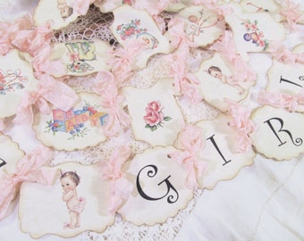 Baby Girl Banner Vintage Baby Girl Shower - It's a Girl Parchment Garland Bunting - Choose Size & Ribbons - Small Medium Large - sprinkle