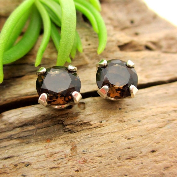 Smoky Quartz Earrings in Gold, Silver, or Platinum, with Genuine Gems, 6mm - Free Gift Wrapping