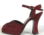 Vintage 70s Peep Toe Platform Shoes Red Wine Suede by Browns Couture 37-1/2, US 7