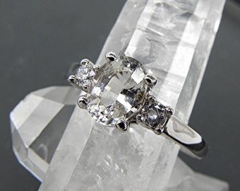 AAAA Unheated White Sapphire   8x6mm  1.51 Carats   with .14 carats of Diamonds 14K White gold 3 ring engagement ring T86  1757