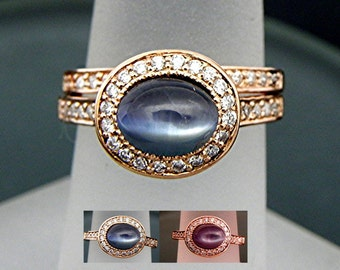 AAA Alexandrite Color Change   7.6x6mm  1.65 Carats   Oval 14K Rose gold Halo bridal set with .35cts of diamonds. 775
