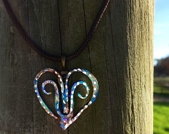 Country Heart Hand Painted with Diamond Cut Detail