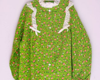 Vintage girls pajamas green flannel nos size 8/10