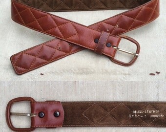 vintage quilted leather belt w. leather covered buckle