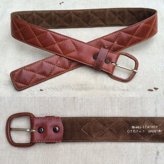 vintage quilted leather belt w leather covered buckle