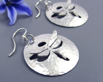 Sterling Silver Dragonfly Earrings - hammered dragonfly earrings - Small silver dragonfly earrings - sterling dragonfly earrings