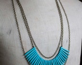 Turquoise Multi Strand Necklace | Layered Necklace | Fan Necklace
