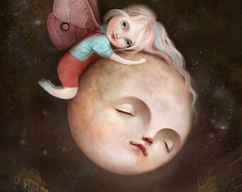 Moth and Moon 11X14 | moon art, nursery art, art for childrens room, emotional art, children's art, baby shower moon for nursery - Meluseena