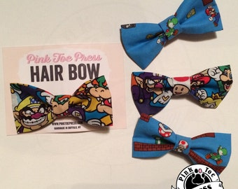 Super Mario // Hair Bow // clip on Bow Tie //Nintendo Fabric