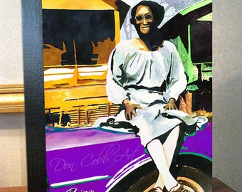 """Mardi Gras Art """"Lady on the Buick Riviera"""" 8x10x1.5"""" and 11x14x1.5"""" Gallery Wrap Canvas Print Signed and Numbered"""