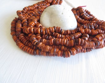 orange coconut rondelle beads , small coconut  discs spacer , dyed   , 2 to 4mm   x 7 to 8mm / 12 inches strand  -  6a15-5