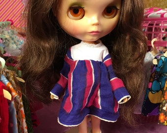 Dainty Dark Blue and Cranberry Striped Blythe Doll Dress (Vintage 1950s Fabric)