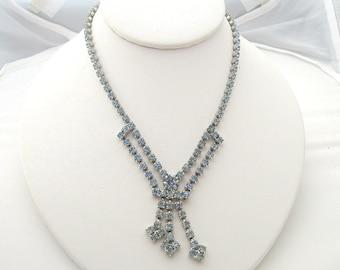 Vintage Rhinestone Necklace Choker Light Sapphire Silvertone