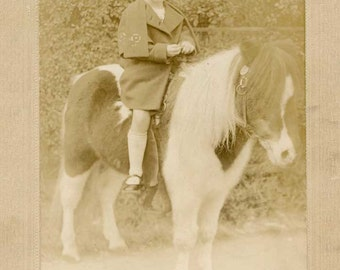 Edwardian 1910 Era Cabinet Photo, Young Girl Seated on her Pony, Anne on her Painted Pony