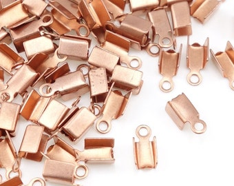 144 Copper Cord Crimp Ends Solid Copper Cord Ends Raw Bright Copper Findings - Leather Jewelry Findings - Fold Over Cord End (FSC1)