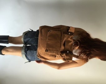 Brown cognac canvas backpack,leather strap travel backpack,Canvas Satchel Rucksack,Back to school laptop bag  /SALE 30% - no.105 ALLISON