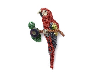Parrot pendant - crochet wire parrot perched on a branch, bird jewelry, animal pendant, red macaw, colourful bird, contemporary jewelry