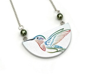 Bird Necklace, Wooden Semi Circle Bib necklace, Kingfisher Necklace, Kingfisher Necklace, Statement Jewelry