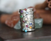 Natural gemstone Personalized stackable stacking rings...hand stamped fine silver stacking rings.