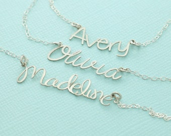 Custom Name Necklace - Personalized Cutout Name Necklace - Bridesmaid Jewelry - Personalized Jewelry - Mom Jewelry