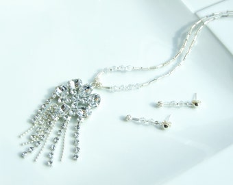 White Jewellery SET - Clear Crystal Waterfall fringe Tassle Pendant Necklace and Earrings