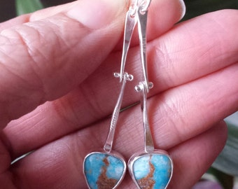 Peruvian Opal Earrings Hinge Earrings Long Dangle Earrings Unique Stone Earrings Sterling Silver Earrings Movement Earrings